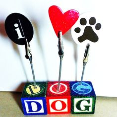 I Love my Dog! PHOTO HOLDER & DISPLAY /  Personalized Memo Display / Pet Lover Decor / Mixed Media Assemblage Art  by TextileandType on Etsy! Perfect gift for any dog lover to display their fur baby pictures!!