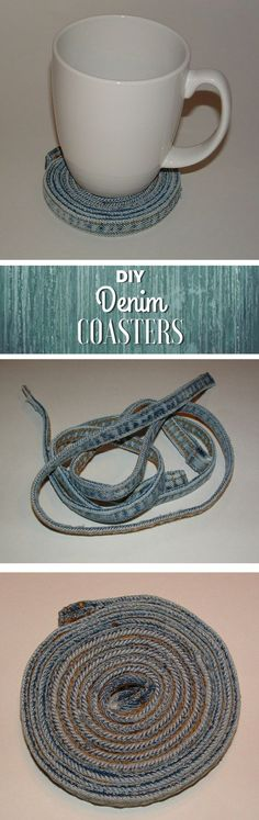 Check out how to make a decorative DIY coaster from reclaimed jeans @istandarddesign