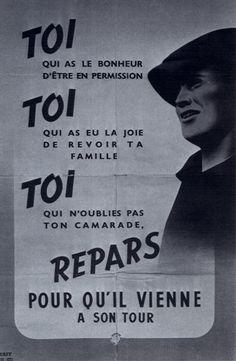 1943 01 Affiche Toi Repars Pour Qu'il Vienne À Son Tour Tracts Et Affiches 1939-1945