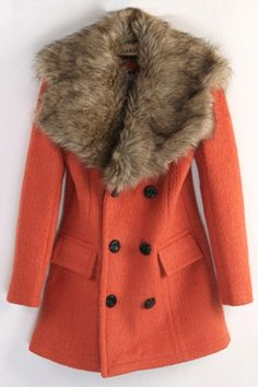 Broad Faux Fur Collar Double Breasted Coat