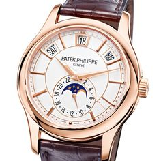 Patek Philippe Annual Calendar Rose Gold Silver Dial Men's Leather Strap Watch From Berry's Jewellers. Patek Philippe Aquanaut, Patek Philippe Calatrava, Patek Phillippe, Luxury Watches For Men, Dark Brown Leather, Leather Men, Rose Gold, Man Style, Men's Watches