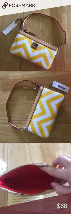Dooney & Bourke Yellow Chevron Wristlet NWT Dooney & Bourke Yellow Chevron Wristlet NWT. Authentic Dooney & Bourke wristlet in a summery yellow and white chevron pattern with goldtone hardware. This wristlet has a zip top opening and one inside slip pocket with red lining. Measurements: 8W x 4.5H x .5D. Feel free to ask questions. No trades. Dooney & Bourke Bags Clutches & Wristlets