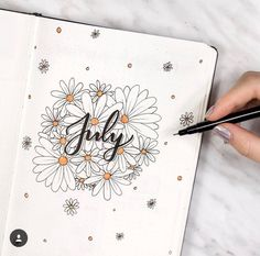 July monthly cover page for bullet journal