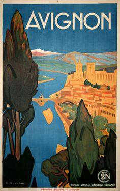 Avignon travel poster