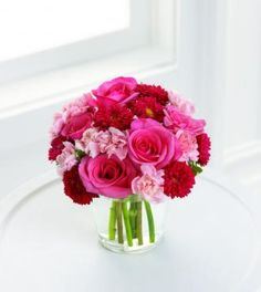 pink & red flower arrangement for valentines day