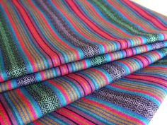 Tribal Fabric, Latin American Woven Fabric, Colorful Azteca Stripes, 1 Yard. $18.00, via Etsy.