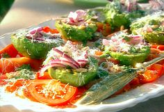 Grilled Avocado, Tomato, Red Onion Salad ~ FoodNetwork