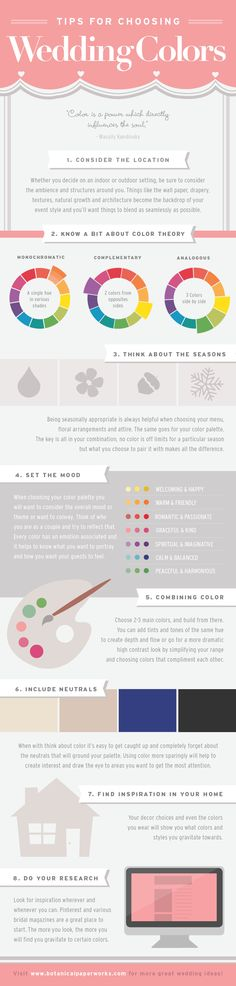 Tips For Choosing Wedding Colors: An easy to follow guide to planning the perfect palette.