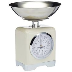 Lovello Simply Stylish Mechanical Kitchen Scales by Kaleidoscope Steel Gifts, Shops, Chocolate Fountains, Retro Futuristic, Vanilla Cream, Baking Tools, Vintage Design, Kitchenette, Bourbon