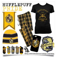 """""""HUFFLEPUFF pride &&d"""" by halliec ❤ liked on Polyvore featuring harrypotter, Hufflepuff and HousePride"""