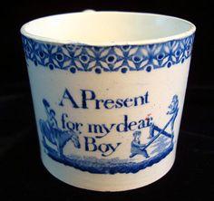Childs Pearlware Mug ~A Present For My Dear Boy 1820