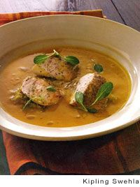 Pumpkin Soup with Chicken and Ginger-Braised Leeks Recipe by Chef Charlie Trotter