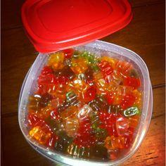 Gummy bears and vodka = mini jello shots!
