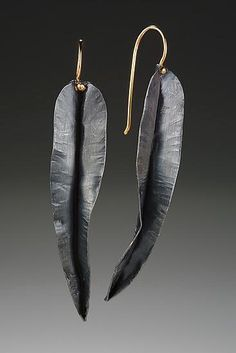 Earrings   Peg Fetter.  18k yellow gold and oxidized sterling silver