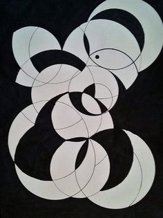 Geometrics Print featuring the painting White On Black Zen by Debera's Abstracts