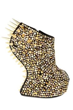 Giuseppe Zanotti Black and Gold Suede Spiked Sculptural Wedge - Sale Crazy High Heels, Crazy Shoes, Me Too Shoes, Weird Shoes, Stilettos, Pumps, Wedge Boots, Shoe Boots, Women's Shoes