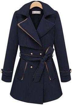 Abrigo solapa manga larga-azul