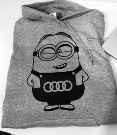 The hoodie is super comfortable, it features a large pocket with two entrances (One for each hand), which is ideal for keeping your hands warm. Large hood which can be set tight or loose, depends on you! Funny Prints, Hand Warmers, Minions, Audi, Great Gifts, Fans, Reusable Tote Bags, Hoodies, Printed