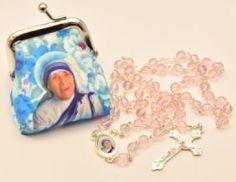 Mother Teresa Rosary Beads & Rosary Purse.. Saint Teresa Of Calcutta, Rosary Beads, Mother Teresa, Mother Gifts, Catholic, Saints, Coin Purse, Purses, Wallet