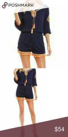 Blu Pepper Embroidered Tassel Romper NEW Navy breezy gauze romper is adorably cute in neon orange tassel trim. Large embrpidered motif on sleeve & around entire neckline. NEW   Drawstring front ties, tasseled Tassel hem 100% rayon  Fully lined, polyester   20% off bundles for one shipping charge or make me an offer I can't refuse. Blu Pepper Pants Jumpsuits & Rompers