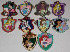 Disney Trading Pins Princess Crest Mystery Complete Set of 10 Mint | eBay