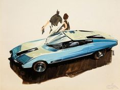 """American Concept Car, by Ken Vendley. From the show """"When the Future Had Fins"""" at Christopher W. Mount Gallery in LA Car Design Sketch, Car Sketch, Classic Chevy Trucks, Classic Cars, Automobile, Automotive Design, Auto Design, Automotive Industry, Design Art"""