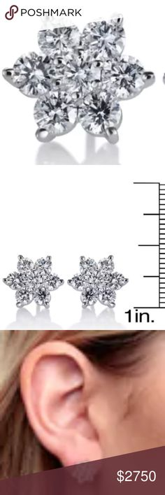 SummerRose 14k White Gold 2ct TDW Diamond STUDS Two carats of fiery white diamonds shimmer from within these flower-shaped earrings to add whimsical sparkle to any formal or casual attire. Crafted with 14k white gold, these high polish stud earrings secure with butterfly clasps.  White Diamonds Diamonds: 14 Diamond cut: Round Diamond measurements: 3.3 mm Diamond weight: 2 carats Color: G-H Clarity: SI1-SI2 Setting: Prong Metal information and dimensions Metal: 14k white gold Finish: High…