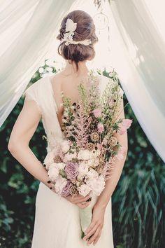WOW! Vintage-Brautstrauß in Flieder, Rosa und Creme #Bridal #Bouquet #Hochzeit #Wedding #Bride