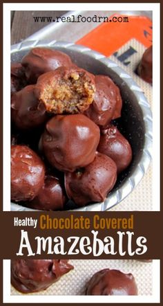 Healthy Chocolate Covered Amazeballs. These delicious little treats were created in the moment of a sweet tooth emergency. Made with only a handful of ingredients and oh so satisfying! Plus, not made with sugar or junk!!! realfoodrn.com