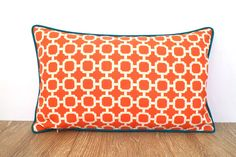 Orange outdoor lumbar cover, geometric cushion for entryway bench, orange and teal outdoor pillow case, trellis outside pillow piping