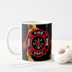 Firefighter Gift Mug Firefighter Tools, Firefighter Wedding, Firefighter Shirts, Fireman Party, Retirement Gifts, Fire Department, Monogram Initials, Gifts In A Mug, Photo Mugs