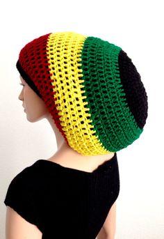 6b551a5c6dd Crochet Rasta tam  Crochet dread tam  Bob Marley Hat  Jamaican Beanie   Dreadlocks  Rastafarian Tam
