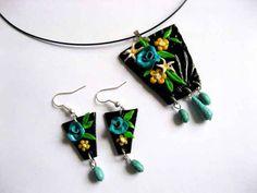Women's Jewelry, Stones, Pasta, Turquoise, Drop Earrings, Handmade, Fashion, Fimo, Moda