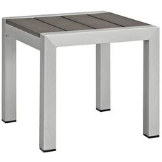 LexMod - Shore Outdoor Patio Aluminum Side Table in Silver Gray