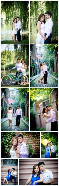 Back Bay Boston Engagement Shoot featuring vintage huffy bike, urban backdrops and the Boston Public Garden. BKB & CO.   Boston Wedding Photography and Video Studio