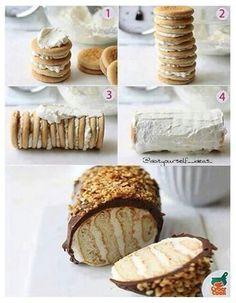 Mmmm lecker! Einfach kekse mit buttercreme aneinander bäpen :D zum Schluss Schokolade und streusel drüber.