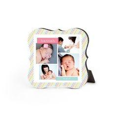 Sweet Stripes Pink Desktop Plaque, Bracket, 5 x 5 inches