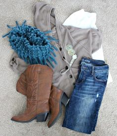 Fall Fashion: Casual Weekend Wear. Outfit ideas for fall include a great sweater, scarf and boots. That's fall weekend wear at its best.
