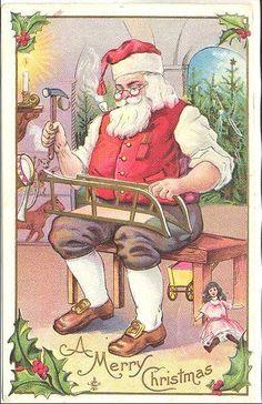 Santa in His Workshop - 1911 Postcard