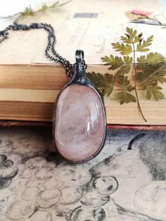 Rose Quartz Necklace, Rose quartz Pendant, Rose Quartz , old silver, Stone Pendant, Stylish Jewelry,Healing Crystals and stones,Bohemian by BUSTANI on Etsy