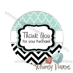 Fancy Chevron Labels - Thank You for your Purchase - 1.75 Inch Round ...
