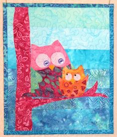 Owls mini quilt by Beret Nelson | On The Trail Creations