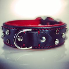 Black and Red Leather Dog Collar by dieselDOGwear Luv the Red Accents in the Stitching and Crystals