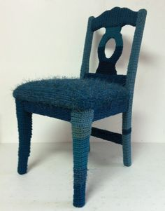 teal yarn bombed chair