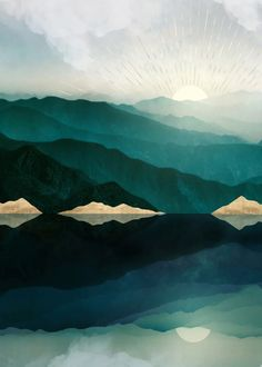 Abstract landscape of waters edge reflection with mountains, gold, teal and blue nature landscape Landscape Wallpaper, Landscape Drawings, Landscape Illustration, Landscapes, Landscape Tattoo, Landscape Background, Sunrise Landscape, Abstract Landscape, Nature Posters
