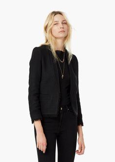 Textured cotton blazer - Jackets for Women   MANGO