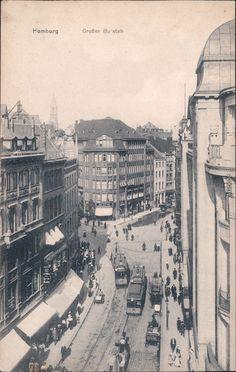 Ansichtskarten-Lexikon :: Großer Burstah, Straßenbahnen :: Altstadt-Hamburg