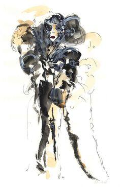 """""""Dancing in the dark"""" 2014 watercolour, ink, pen, tea"""