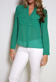 Long Sleeve Top with Two Front Pocket