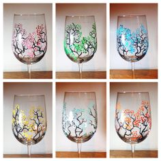 MultiColored Hand Painted Cherry Blossom Tree Wine Glasses - Hand Painted Wine Glasses on Etsy, $34.00